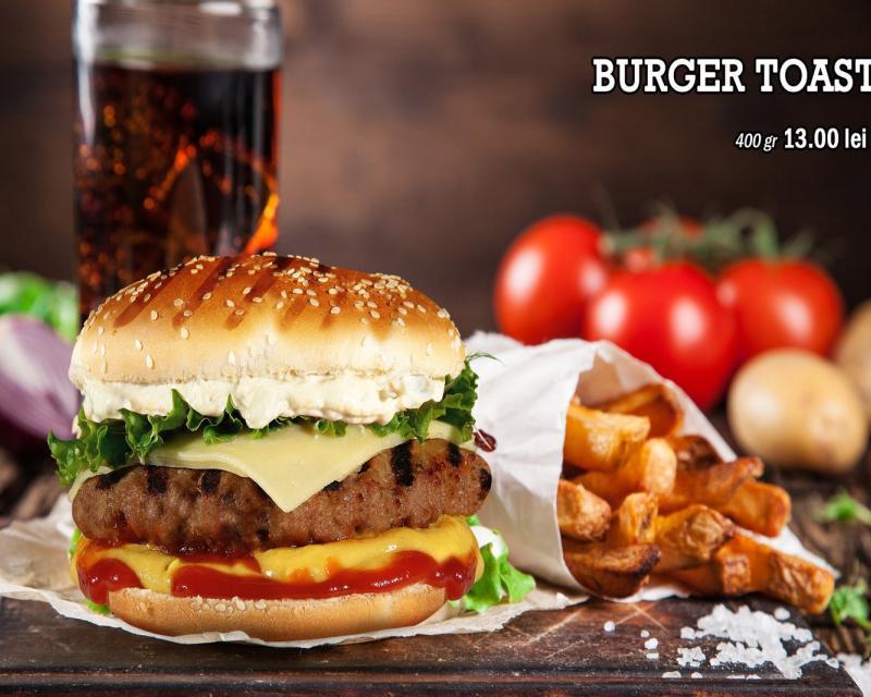 Poza Burger Toast vita-porc