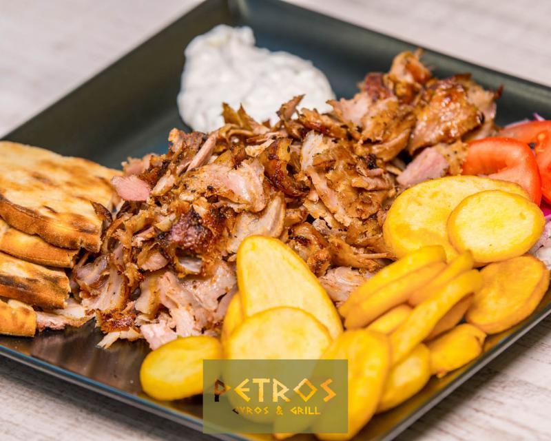 Poza Gyros de mix pui-porc la farfurie
