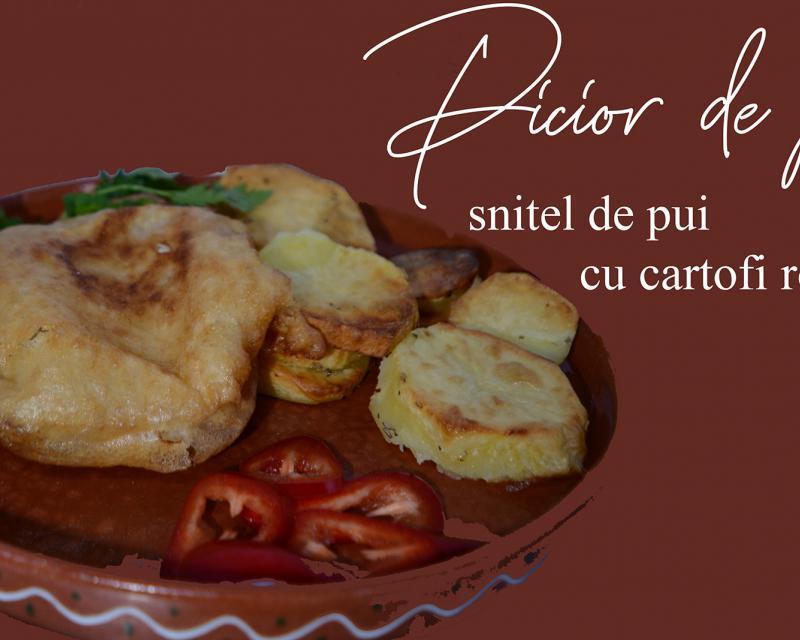Poza Snitel din piept de pui cu cartofi cu rozmarin