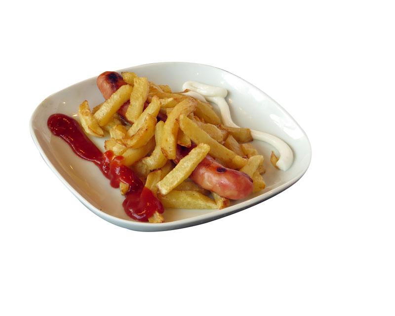 Poza Salchicas con patatas fritas- gratis la orice fresh, suc sau bere