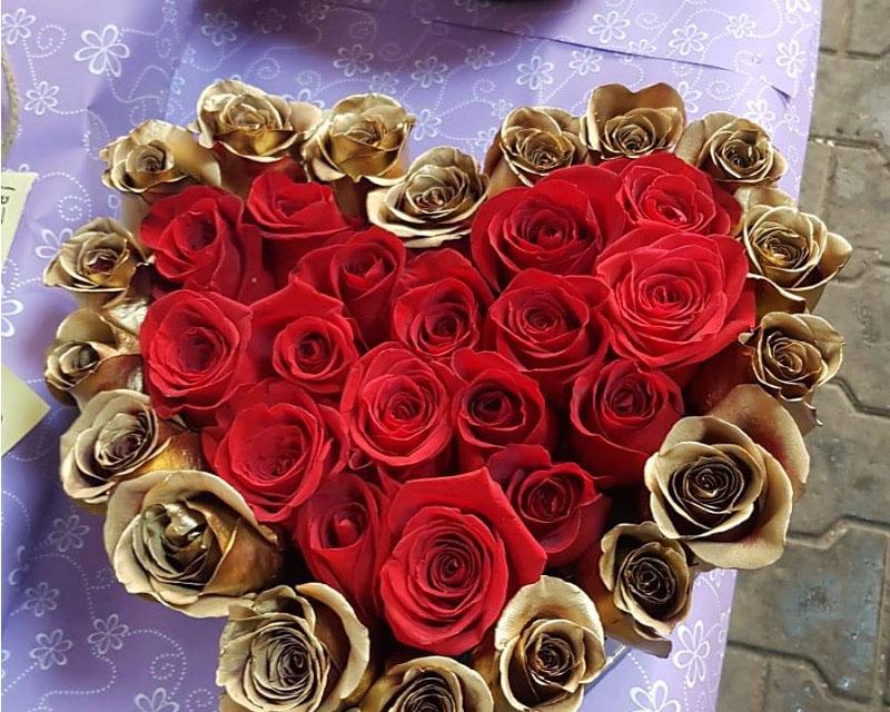 Poza Cutie inima 35 de trandafiri