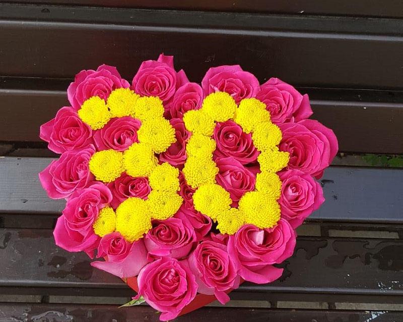 Poza Cutie inima 23 de trandafiri