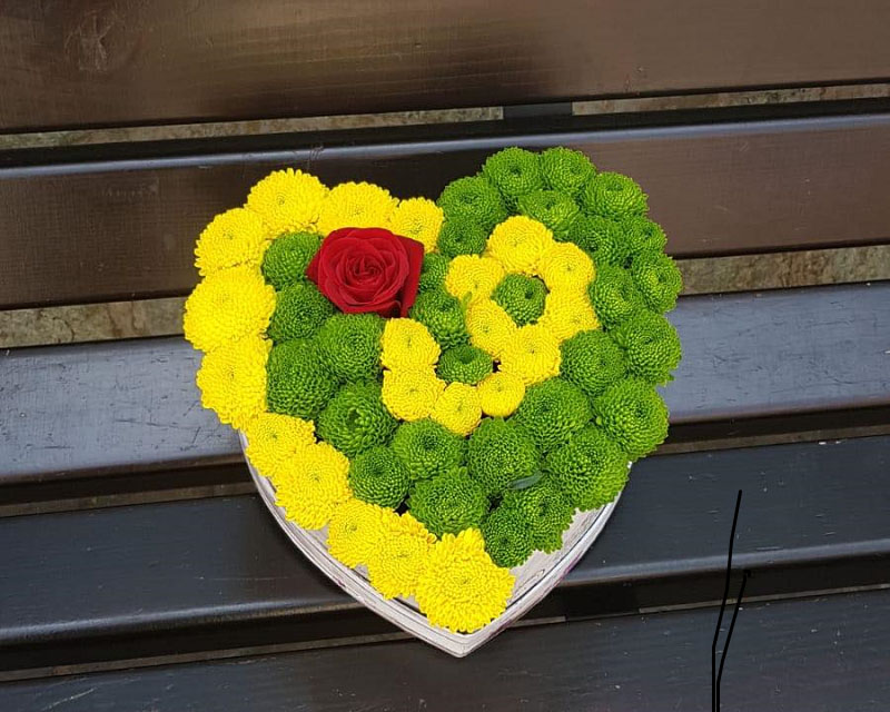 Poza Cutie inima crizantema